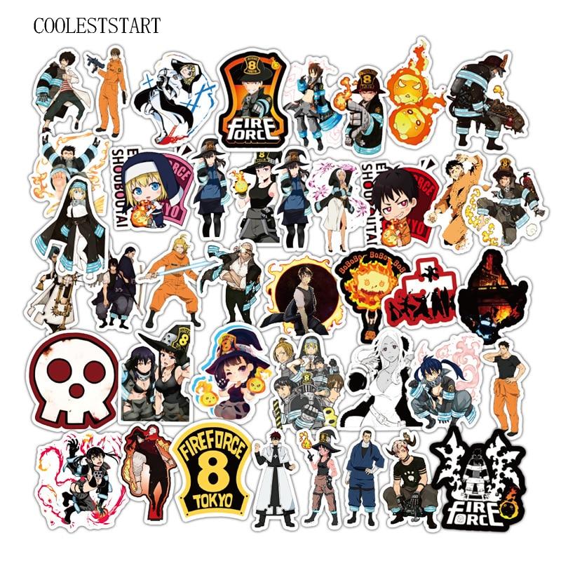 50Pcs/Lot Fire Force Graffiti Anime Stickers PVC Waterproof Sticker For Laptop Luggage Car Skateboard Notebook