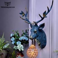 Nordic Art Creative Gewei Vanity Spiegel Verlichting Wandlampen Huis Balkon Patio Wandlampen Goud Glas Nachtkastje Wandlamp Lamp