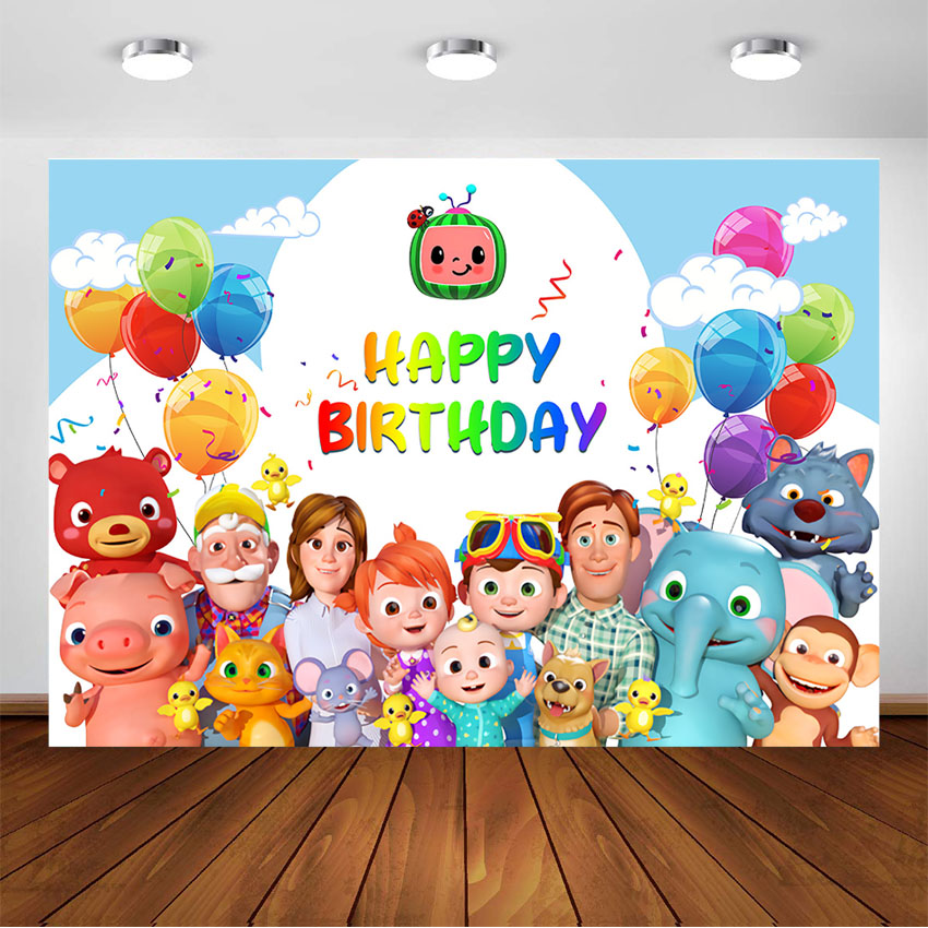 Cocomelon Family Backdrops Kids Happy Birthday Cocomelon Party Custom Banner Decoration Photography Background For Photo Studio Background Aliexpress