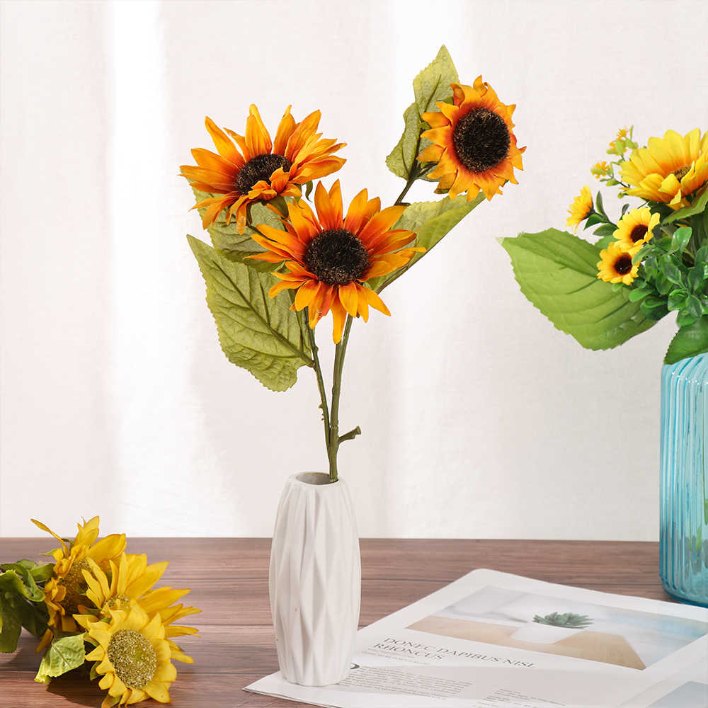 50cm Fake Plastic Stem Sunflower Long
