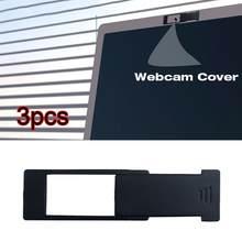 Lot de 3 couvertures de caméra Webcam ultra-Dunne universel en plastique, autocollant de confidentialité, coulissant, pour ordinateur portable, téléphone et tablette,
