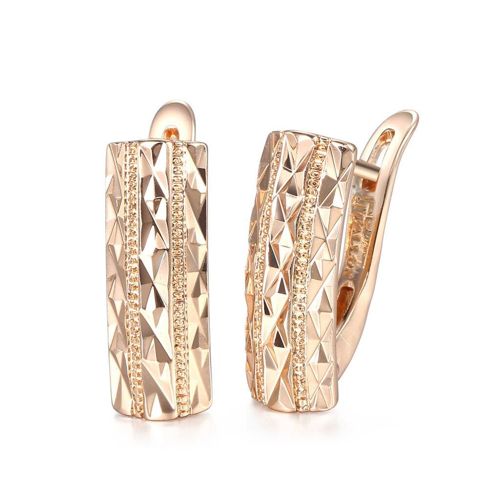 Trendsmax kesim dikdörtgen kızlar bayan saplama küpe 585 gül altın geometrik ek kapatma Trend sıradışı küpe moda 2021 GE71