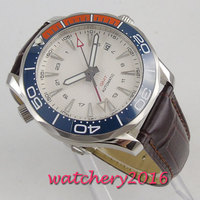 41mm bliger branco estéril dial azul laranja cerâmica moldura gmt safira de vidro luxo movimento automático relógio masculino