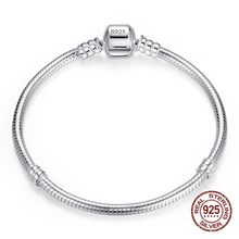 Big Sale Handmade Fine Jewelry 925 Sterling Silver Charm Bracelet Bangle Soft Smooth Snake Bone Bracelets for Women DIY Jewelry(China)