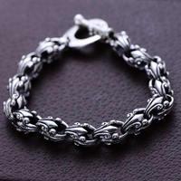 Hot sale Pure S925 Silver Bracelet Men's Dragon Link Bracelet