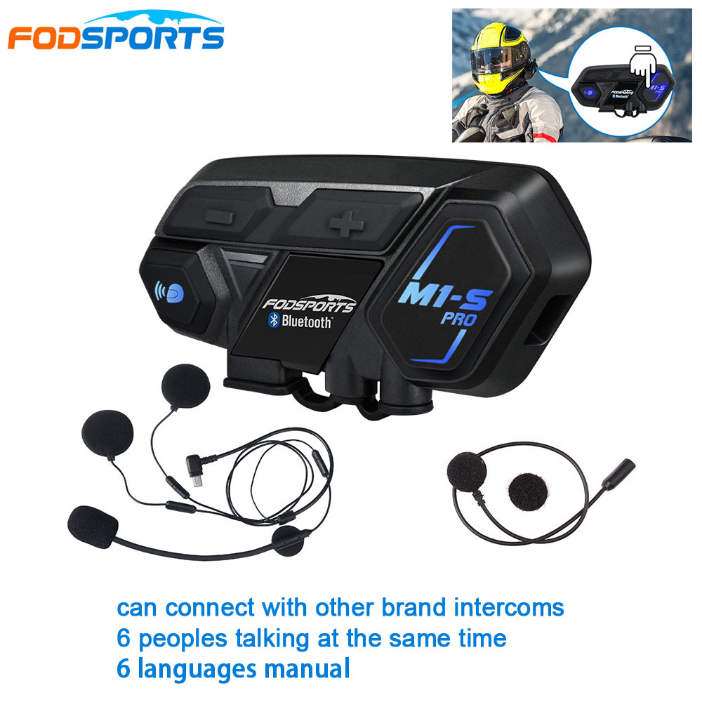 Fodsports Motorcycle Intercom 8 Riders M1-S Pro Helmet Headset Bluetooth Motorbike Bluetooth Interphone Connect BT-S2 V6 TCOM-SC