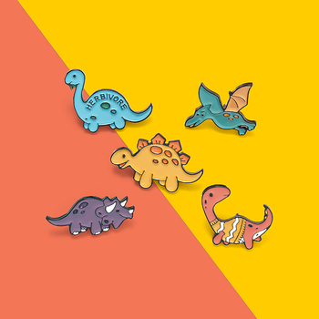 Custom Herbivore Dinosaur Park Enamel Pins Adventure Brooches Bag Clothes Lapel Pin Beast Badge Jewelry Gifts for Kids Friends image