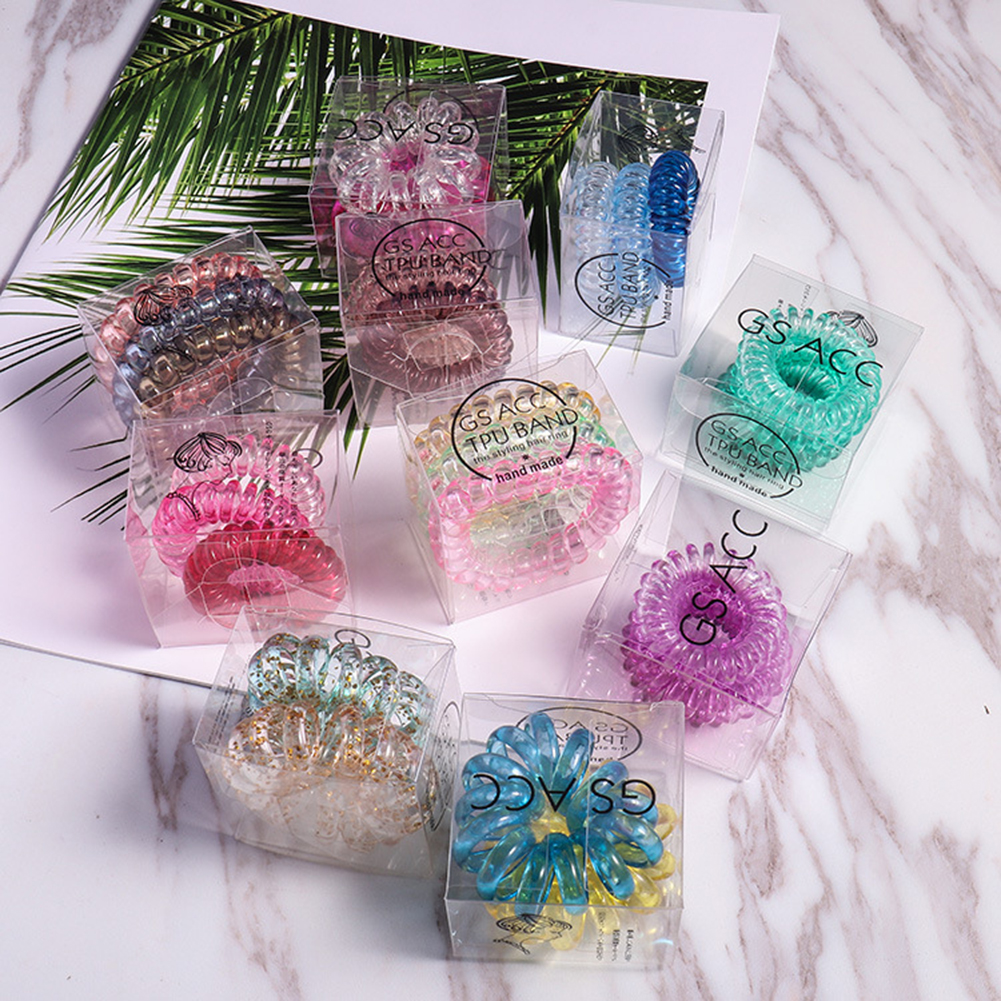 3pcs  Elastic Hair Bands Hair Ring Rope With Box Spiral Rubber Band  Girls Headwear Gum Telephone Wire Line Hair Accessories