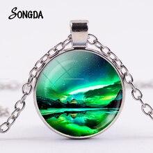 Green Northern Lights Necklace Aurora Borealis Charm Scenery Glass Pendant Galaxy Universe Hand Craft Art Trendy Jewelry