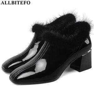 Image 2 - ALLBITEFO heißer verkauf echtem leder hohe ferse schuhe einfache stil Reine farbe frauen heels Elegante Herbst Winter high heels