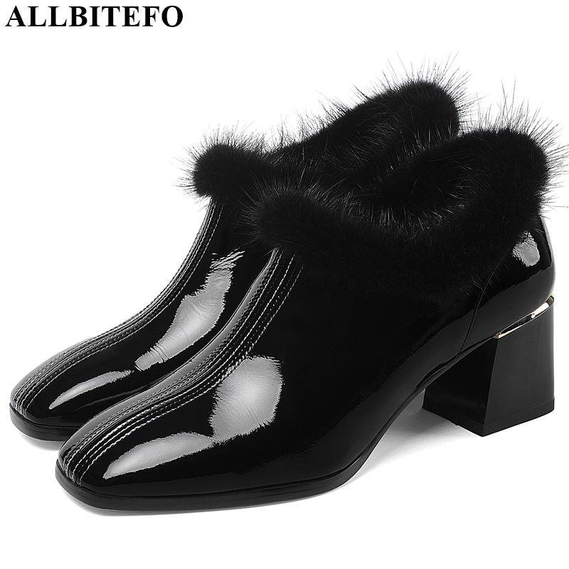 Image 2 - ALLBITEFO hot sale genuine leather high heel shoes simple style  Pure color women heels Elegant Autumn Winter high heelsWomens Pumps