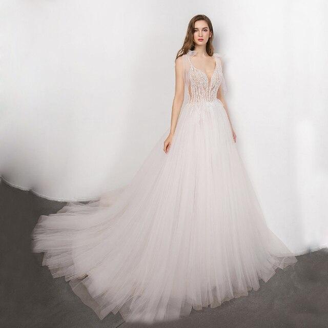 boho Bridal Gown 2021 new Sexy V-neck backless Bride Wedding Dress Luxury Crystal and Pearls Vestido de novia Robe de mariee 1
