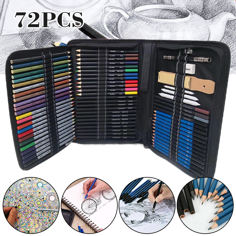 72pcs/set Drawing Sketching Set Charcoal Pencil Artists Painting Draw Sketch Kit  For Painter School Students Art Supplies