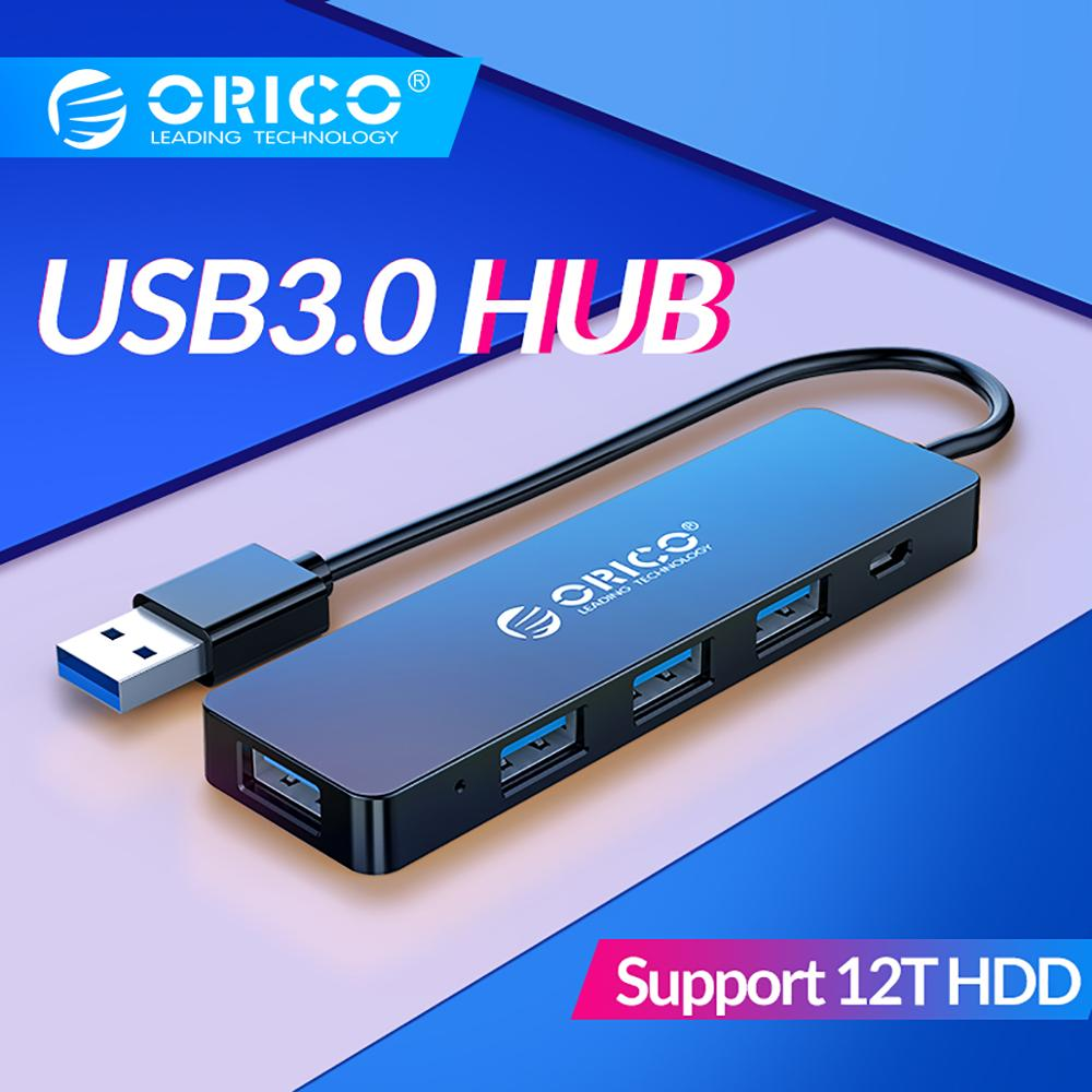 ORICO USB3.0 HUB With Power Supply Interface Multi 4 Port USB Splitter OTG Adapter Support 5Gbps 12TB HDD For PC Computer Laptop