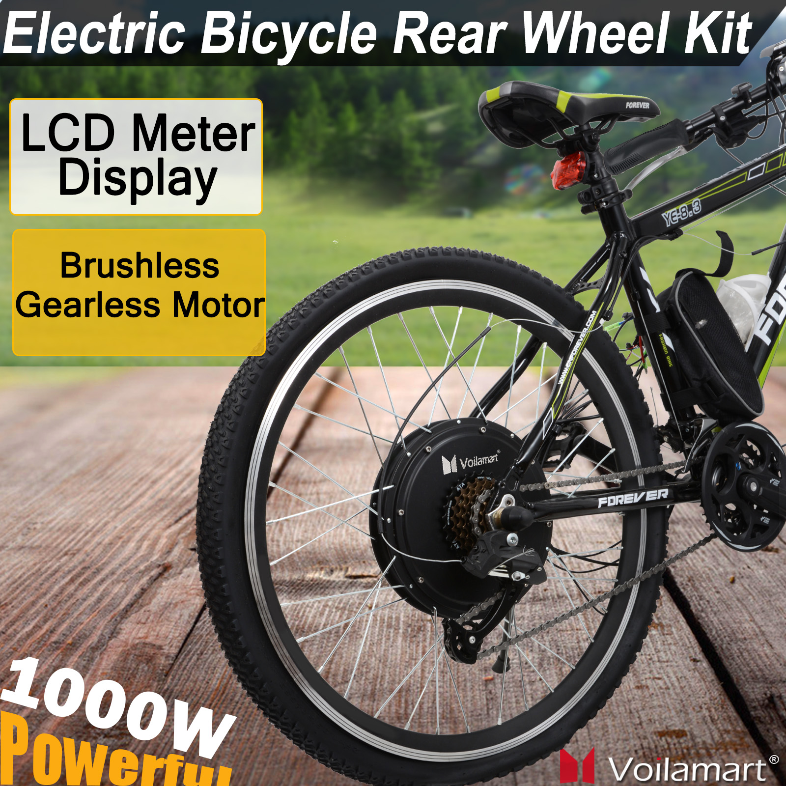 "Voilamart 26"" Rear Wheel Electric Bicycle 1000W 48V E Bike Motor Conversion Kit With LCD Meter"