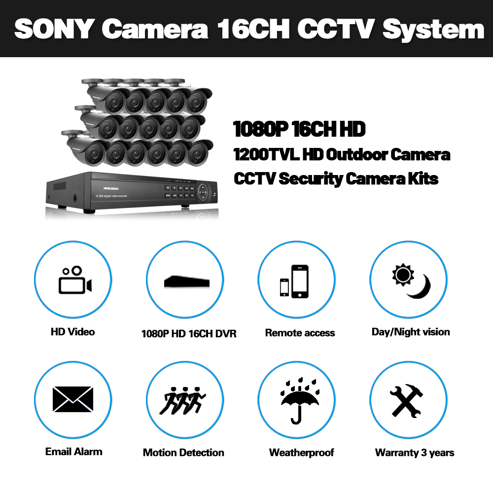Image 2 - Sony 16CH AHD 1080N 1080P DVR CCTV Home Security Camera System 16PCS IR Outdoor 1200TVL Video Surveillance Home night vision kit-in Surveillance System from Security & Protection