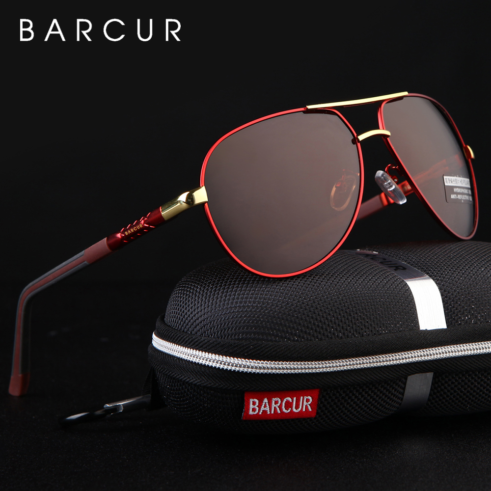 BARCUR Aluminum Magnesium Men's Sunglasses Men Polarized Coating Mirror Glasses oculos Male Eyewear Accessories For Men 1