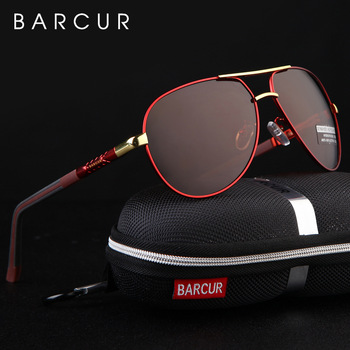 BARCUR Aluminum Magnesium Men's Sunglasses Men Polarized Coating Mirror Glasses oculos Male Eyewear Accessories For Men 1