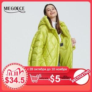 Image 1 - MIEGOFCE 2020 Новый Дизайн Роскошный Женский Парка Яркие Расцветки Повседневная Свободная Пальто Теплая Негабаритная Женская Куртка утепленные дутые куртки стойкий воротник с капюшоном