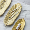 1 Pcs Nordic Gold Feather Shape Ceramic Tray Jewelry Plate Dessert Tray Kitchen Dinnerware Tabletop Decoration Accessories