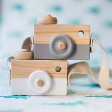 Śliczne Nordic wiszące drewniany aparat fotograficzny zabawki dla dzieci zabawki prezent 9.5*6*3cm wystrój pokoju artykuły wyposażenia wnętrz drewniane zabawki dla dzieci