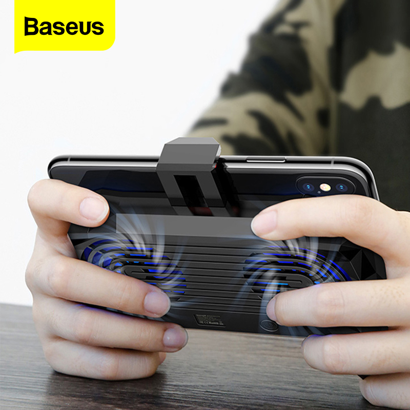Baseus Mobile Phone Cooler For IPhone Xs Max Xr X Samsung S10 S9 Gamepad Game Holder Stand Cooling Controller Support Charging