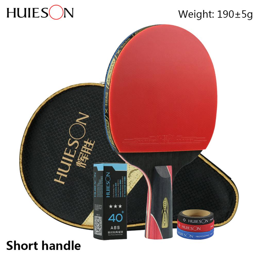 Tennis Racket Long Handle Short Blade Rubber Carbon With Double-sided Spikes In Ping-pong Rackets With Case