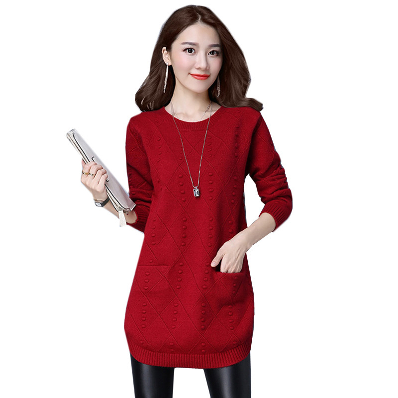 New Autumn Winter Women Sweaters Knit Pullover Solid Color O-neck Long-sleeved Sweaters Fashion Loose Knit Pullover Women Tops