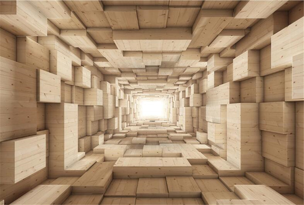 Milofi3D three-dimensional wood grain space background wall painting wallpaper