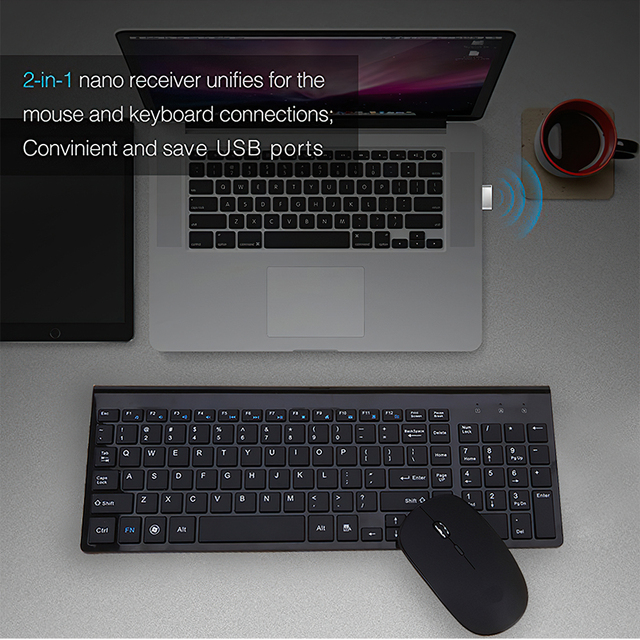 TRAVOR Wireless Mouse Keyboard Sets Portable 2.4G Wireless Mouse Full Size 102 keys Wireless Keyboard For Computer Laptop Tablet 6