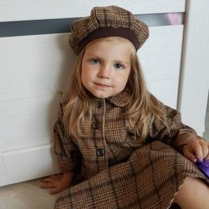 Image 2 - Conjunto de ropa de 3 piezas de Año Nuevo para niña, abrigo, vestido de baile, sombrero, moda de primavera e invierno, disfraz para niño, ropa a cuadros, 2020