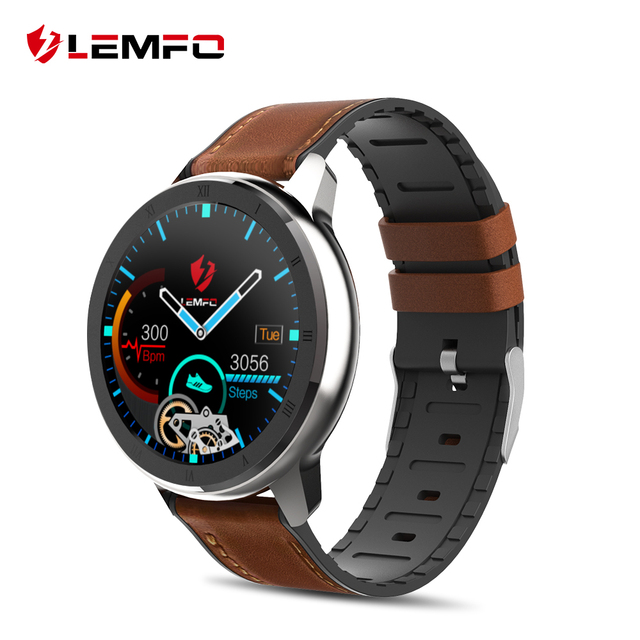 $ US $44.99 LEMFO ELF2 PPG + ECG Smart Watch 1.3 Inch Full Round Touch Screen 360*360 HD Resolution Stainless Steel Case Strap Replaceable