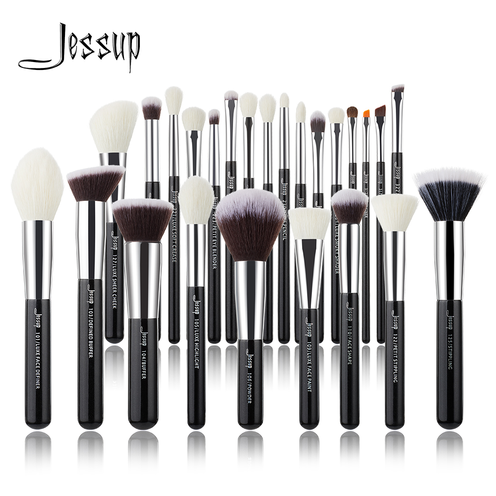 Jessup Makeup brushes set Black/Silver Professional with Natural Hair Foundation Powder Eyeshadow Make up Brush Blush 6pcs 25pcs|Eye Shadow Applicator| - AliExpress