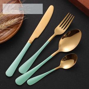 Image 5 - Ensemble de coutellerie 24 pièces, couteaux, fourchettes, cuillères, or rose, service de table de mariage, couverts en acier inoxydable