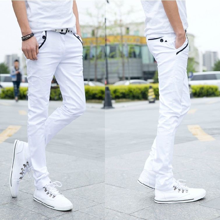 Autumn New Products Youth Slim Women's White Casual Pants Men Fashion Trousers Photonics Male Gong Ku Pencil Skinny Pants