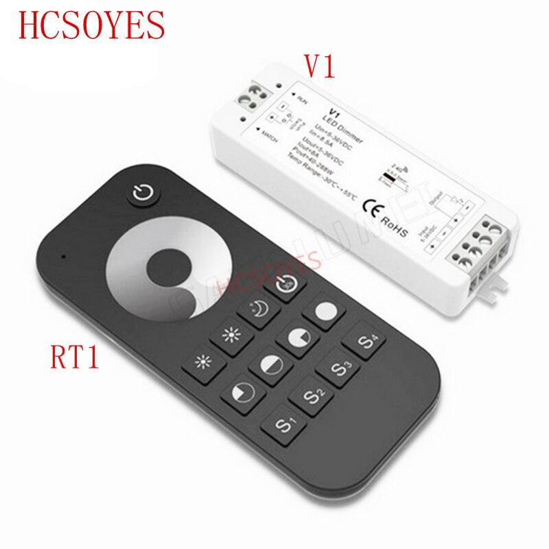 V1+RT1 DC5V-36V Wireless 2.4G RF Wireless Touch LED Dimmer Controller For For 5050 3528 Single Color Led Strip Light