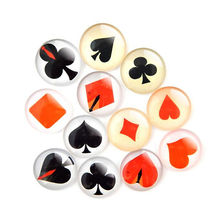 10-50pcs New Poker Pattern Design Glass Cameo Flatback Dome Cabochon Mix Color For Craft DIY Jewelry Findings 8-30MM