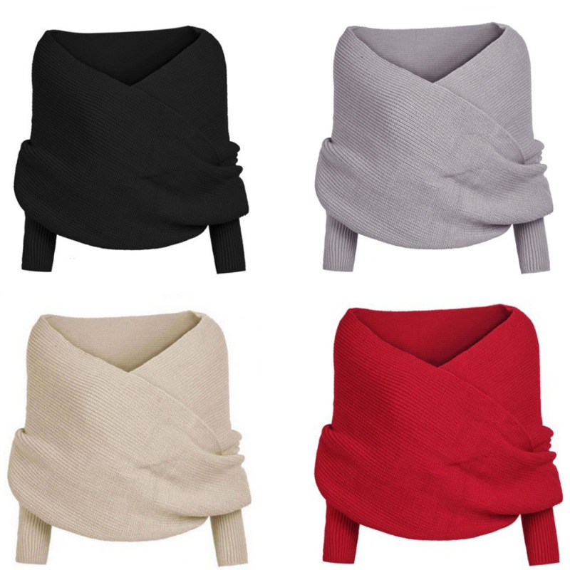 Sexy Women Winter Warm Soft Knitting Wool Long Sleeve Wrap Shawl Solid Black Gray Beige Red