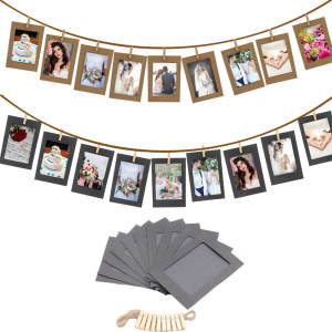10 Pcs 3Inch DIY Kraft Paper Photo Frame Hanging Wall Photos Picture FrameAlbum+Rope+Clips