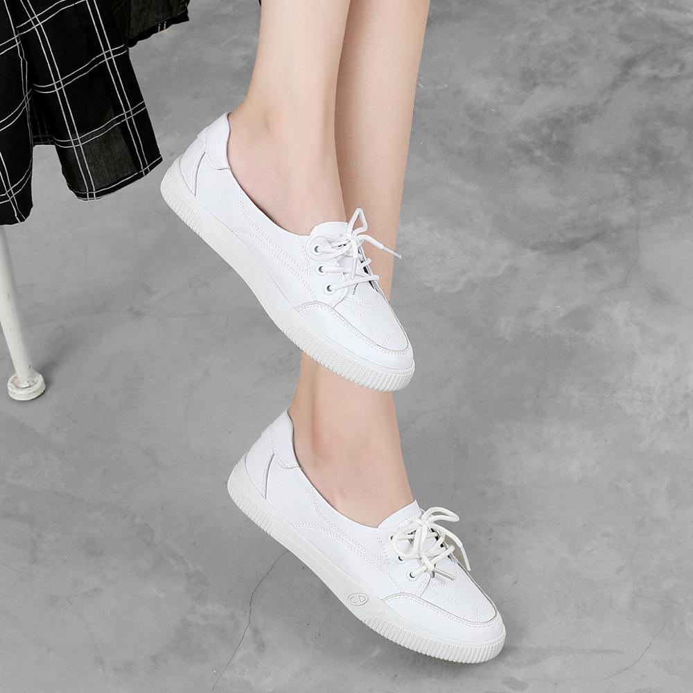 Image 3 - Women Casual Shoes Comfortable White Nude Sneakers Fashion Lace Up Split Leather Girls Casual Flats ShoesWomens Vulcanize Shoes   -