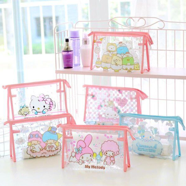 Cartoon Hello Kitty My Melody Cinnamoroll Little Twin Stars Pvc Cosmetic Bags Storage Toiletry Bag Girls Makeup Bags Wash Bags