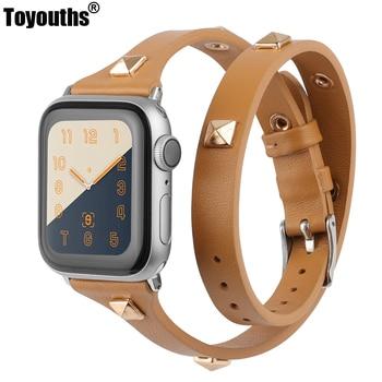 цена Leather Double Wrap Band for Apple Watch Women 38mm 40mm 42mm 44mm Fashion Watch Strap with Rivet for iWatch Series 5 4 3 2 1 онлайн в 2017 году