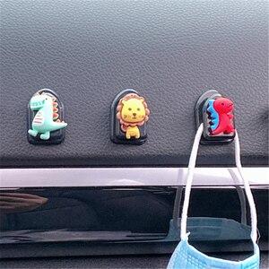Image 4 - 5Pcs חמוד Cartoon רכב ווי דבק פלסטיק רכב וו מארגני רכב מושב אחורי ווים עבור טעינת כבלי מפתחות ארנקים תיקים