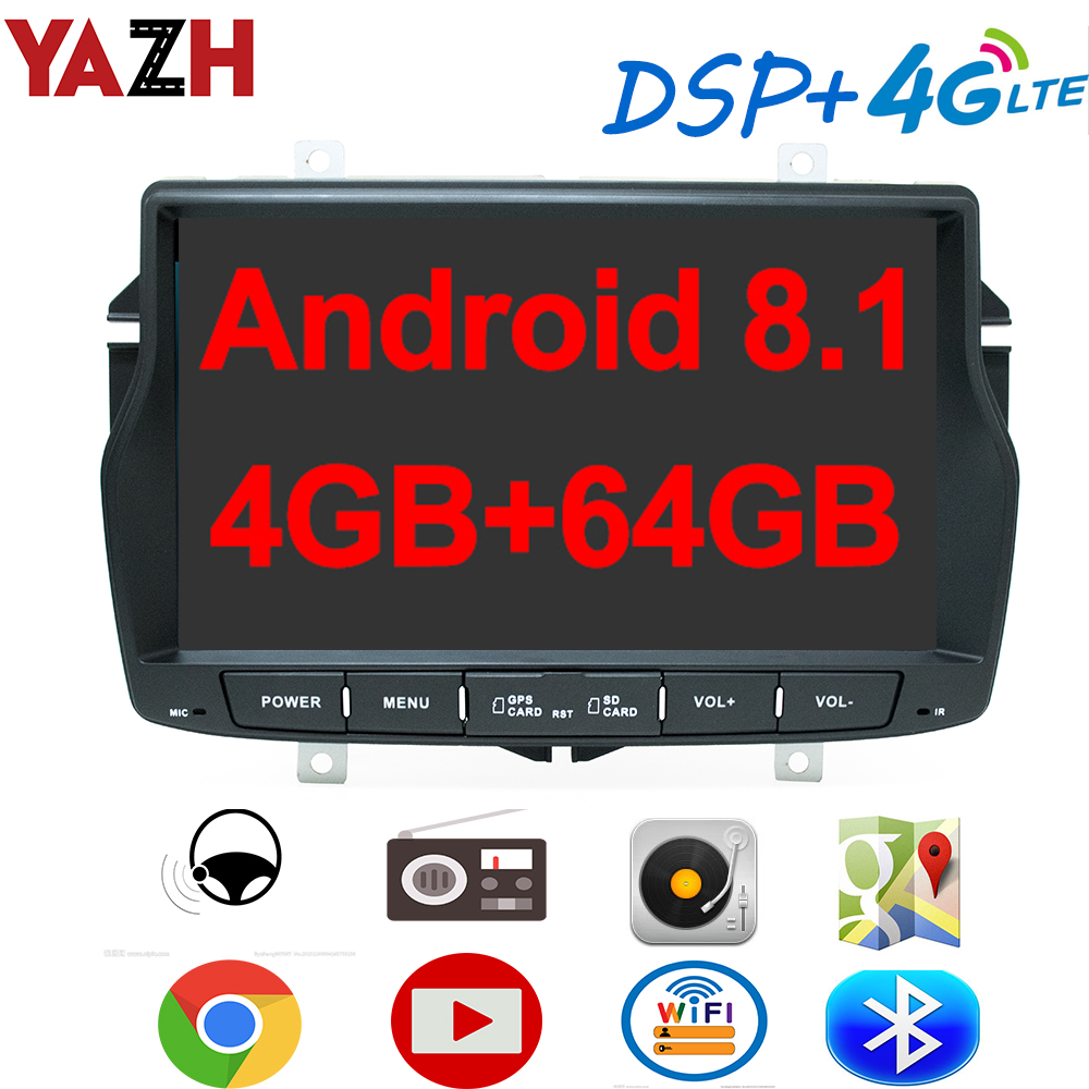 YAZH 8.0 IPS Android 8.1 AutoRadio Player For Lada Vesta 2015 2016 2017 2018 2019 With 4GB 64GB Octa Core Display/Bluetooth 5.0 image