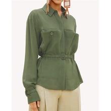 AEL/Офисная женская блуза с длинными рукавами и отложным воротником, дизайн с карманами и поясом, облегающие Женские топы, повседневное короткое пальто, осень