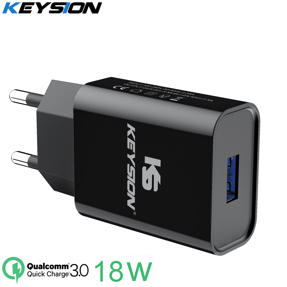 KEYSION 18W Quick Charge 3.0 Fast Mobile Phone Charger EU Plug Wall USB Charger Adapter for iPhone Samsung Xiaomi Redmi Huawei(China)