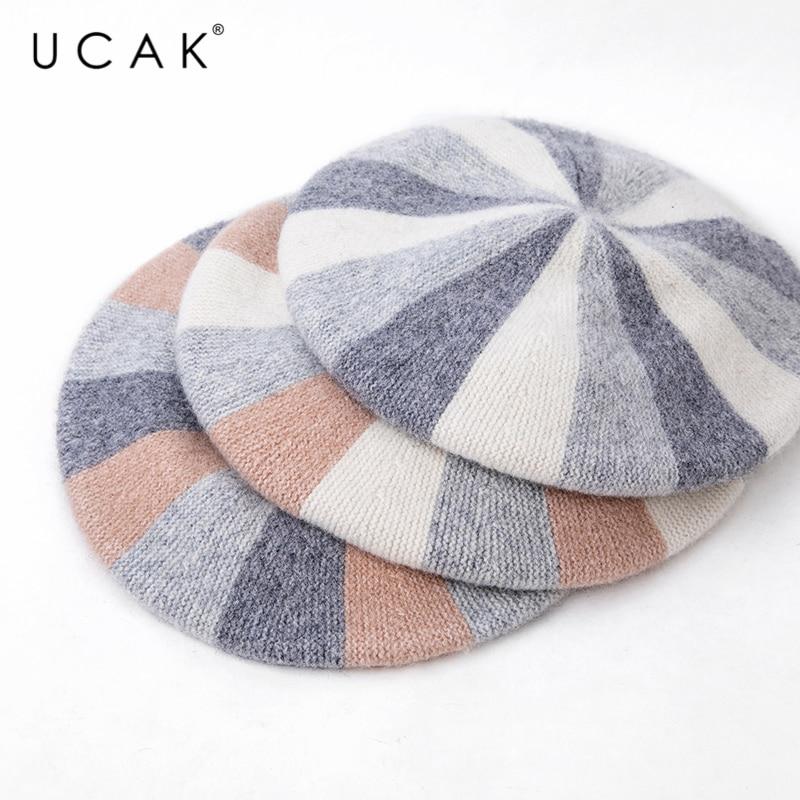 Купить брендовый женский берет ucak для девушек теплая зимняя шапка