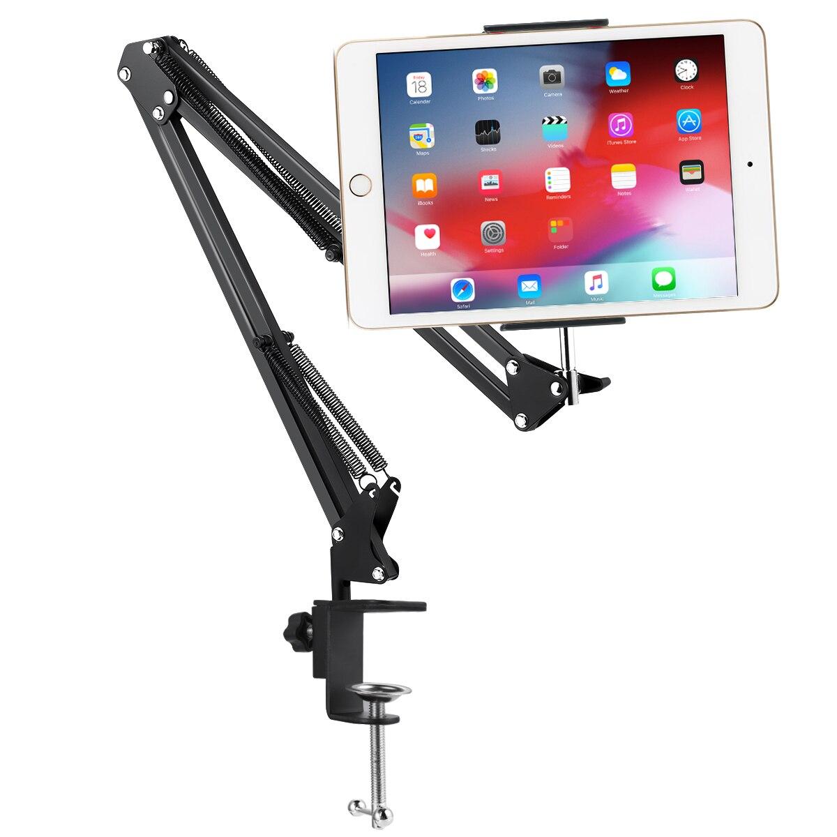 Black/White Cellphone Tablet Metal Holder Stand Adjustable Long Arms Mount Bracket for 12-18CM Wide Mobile Phone Tablets