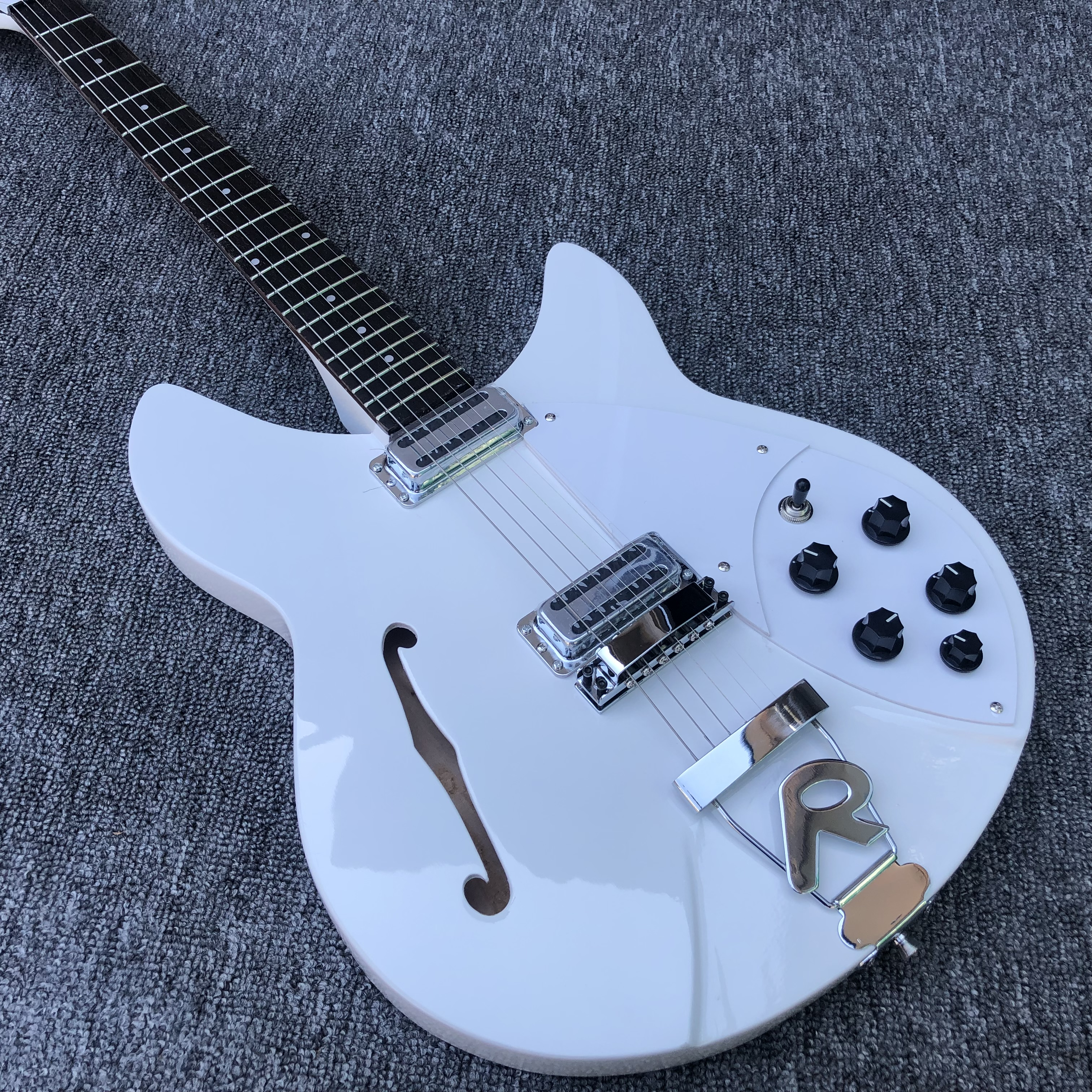 High quality 6 String Electric Guitar, Ricken 360 Electric Guitar,White paint body with F hole,free shipping