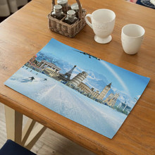 Landscape Pattern Placemats Linen Dining Table Non-slip Mats Kitchen Accessories Mat Solid Placemat for Kitchen Table Decor Home цена 2017
